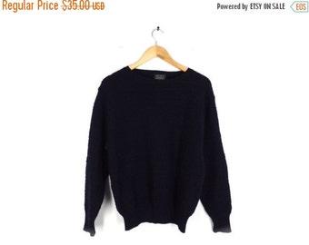 LAST CALL 90s Navy Wool Textured Sweater / Jumper - Pure Wool - Crew Neck - Pullover - Dark Blue - Slouchy Boyfriend - Geometric Knit Medium