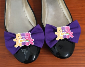 Care Bear Purple Shoe Bows, Purple Shoe Clips