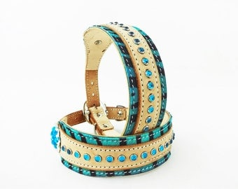 Turquoise Tiger Bling Leather Dog Collar HandMade Fully Adjustable
