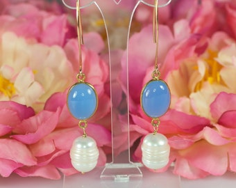 vermeil earrings with blue Chalcedony and large white pearls