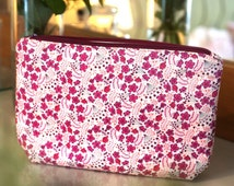 Wash Bag / Toiletry Bag / Makeup Bag in Liberty Fabric Sarah's Secret Garden Handmade Gift for Her