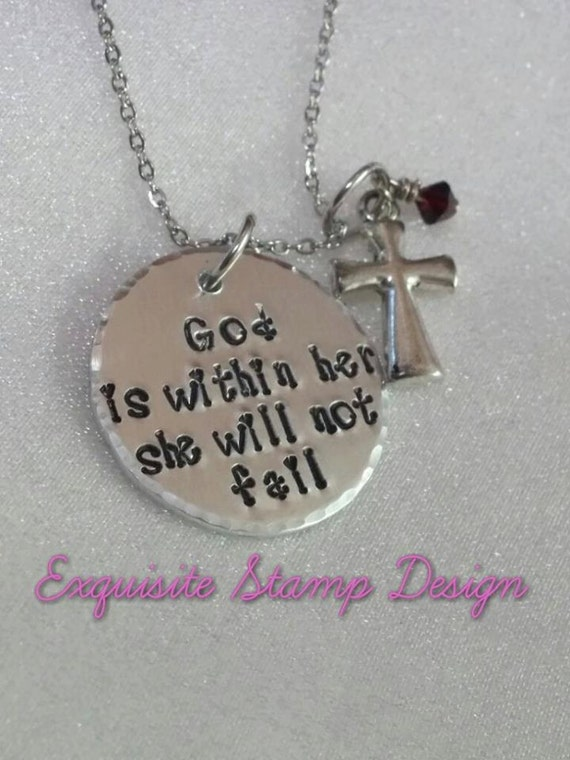 God Is Within Her She Will Not Fail - Biblical Quote Jewelry - Scripture Jewelry - Inspiration Quote Jewelry - Gift for Her - Wedding Gift