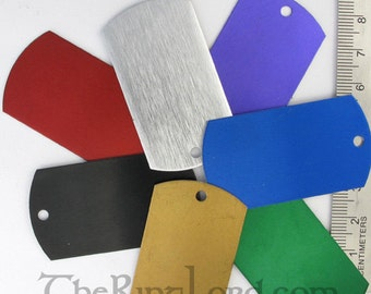 100 Anodized Aluminum Dog Tags - plain or laser engraved - great stamping supply