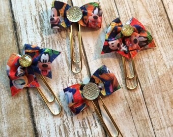 Disney Inspired Mickey, Donald, Goofy, Pluto - Planner Clips / Bookmarks - your choice of bow style