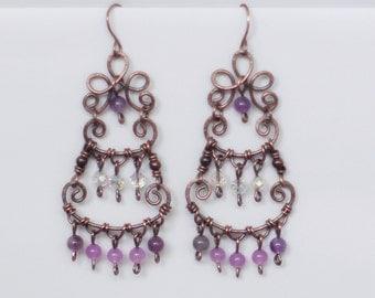 Bohemian earrings, Copper and pink jade earrings, Unique earrings, Wire wrapped earrings, Romantic earrings