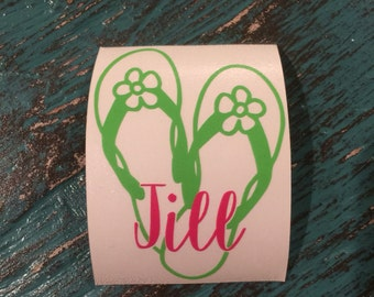 Personalized Flip Flop Decal for yeti cup, tumbler, coffee mug, wine glass, car window, laptop, cell phone/tablet case, boat, ice chest