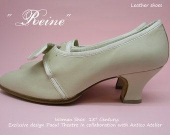 """Mod 732_50T""""Reine"""" Leather 18 century shoes 18 th.- scarpa settecento donna pelle avorio- mod."""" Reine"""", Marie Antoinette style, rococò shoes"""