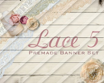 """Banner Set - Shop banner set - Premade Banner Set - Graphic Banners - Facebook Cover - Avatars - Bisiness Card - """"Lace 5"""""""