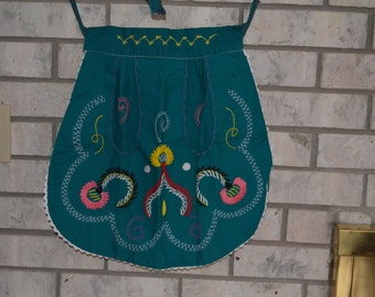 Vintage Handmade Young Girls Embroidered Apron