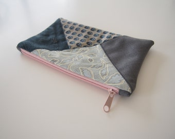 Zipper pouch/ pencil case/ cosmetic bag - patchwork quilted front - blue grey floral