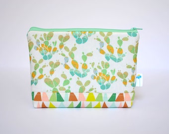 Cactus Zipper Bag, Mint Makeup Bag, Travel Gift, Cactus Cosmetic Bag, Clutch Wallet, Pastel Zippered Pouch, Arizona Pouch, Gift for Her