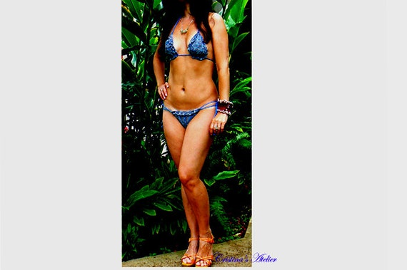 Mineral blue crochet bikini- Handmade sexy crochet swimsuit- Fashion low rise brazilian bikini- Boho blue pearls women bikini set