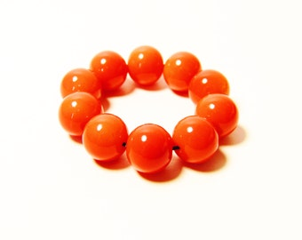 D-00953 - 10 Glass beads 8mm Dark Orange