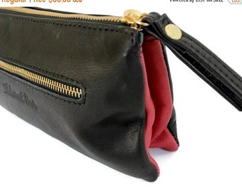 ON SALE Leather wristlet clutch . Woman wallet in black and red , Leather clutch purse , Soft leather clutch , leather wristlet