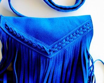 Boho fringe purse in turquoise , Leather fringe bag , suede fringe bag