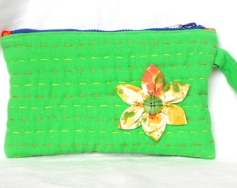 Lime Green Linen Clutch Bag, Hand Embroidery Quilted, Vintage Sheet Fabric Flower, Orange Batik Lining, Padded, Zipped, Artistic Boho Clutch