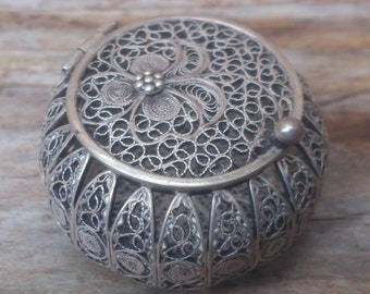 Tiny vintage filigree silver pot