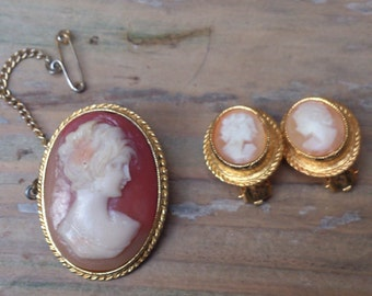 Vintage Cameo brooch and clip-on earrings