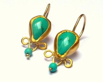 Gold Earrings - 22K Gold Earrings - Ethnic Earrings - Turquoise Earrings - Free Shipping!!!