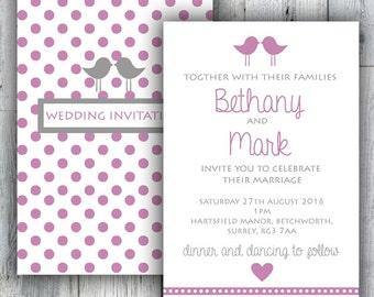 Love Birds' Wedding Invitation Day or Evening