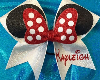 "Disney inspired 3"" Custom Cheer Bow Minnie Mouse"