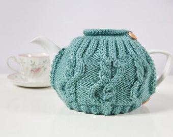 Teal Hand-Knit Tea Cozy / Teapot Cosy