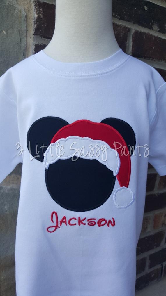 Mickey Mouse Santa Shirt Mickey Applique Shirt Custom