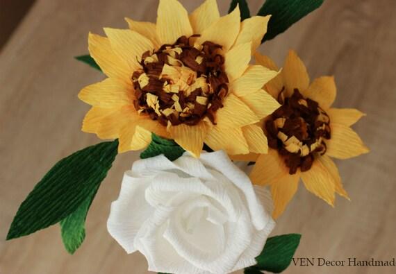 Papier sonnenblumen rose bouquet brautstrauß von vendecorhandmade