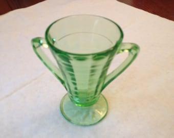 Free Shipping Green Depression Glass Hocking Art Deco Block Optic Pattern Sugar Bowl Pedestal