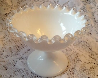 Free Shipping White Pedestal Bowl with Clear Ruffled Edge Cottage Chic