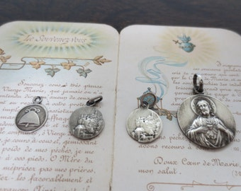 Four French Antique Sterling Silver Medals of Our Lady of Rocamadour, France