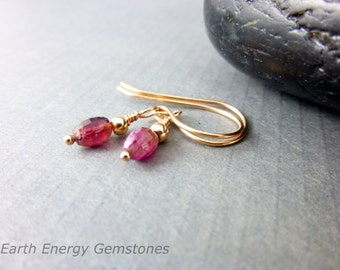 Watermelon Tourmaline Heart Chakra Earrings 14K Rose Gold Fill Fine Jewelry Small Chakra Earrings Gift for Her Healing Energy Chakra Jewelry