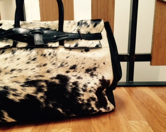 Handmade large leather and pony hide travel bag