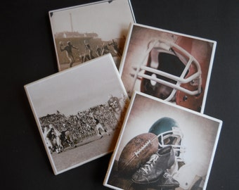 Football Coasters ~ Ceramic Tile Coasters ~ Vintage Football ~ Drink Coasters ~ Table Coasters ~ Home Decor ~ Sports Decor ~ Vintage Sports