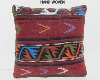 """throw pillow kilim 18"""" sofa throw pillow turkish rug bohemian throw pillow throw pillow case tapestry throw pillow boho chic tapestry C246"""