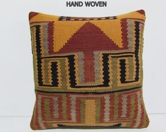 """bohemian tapestry 18"""" moroccan rug ethnic throw pillow wool rug geometric pillow sit pillow kilim pillow cover outdoor floor cushion 33133"""