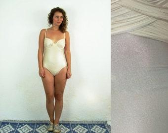 80's vintage women's butter one piece swimsuit/ swimwear