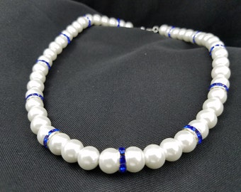 White Glass Pearls and Navy Crystal Spacer Beads