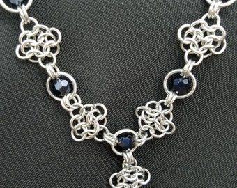 Chainmaille and Black Metallic Bead Necklace