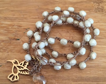 Brass Hummingbird Crochet Necklace - Cream Czech Beads