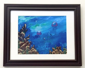 Jellyfish Family Under the Sea Matted and Framed Art Print