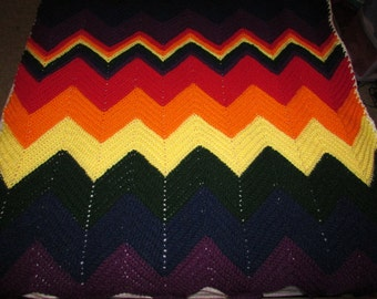 Rainbow Chevron Twin Size Afghan