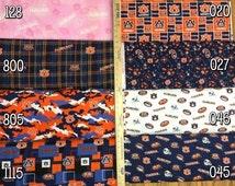 NCAA Auburn University Tigers Navy & Orange College Logo Cotton Fabric! [Choose Your Cut Size]
