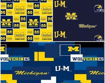 NCAA University of Michigan Wolverines Blue & Gold College Logo Cotton Fabric by Sykel! 11 Choices [Choose Your Cut Size]