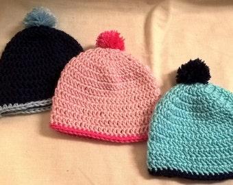 Crochet Pom Pom Baby Hat