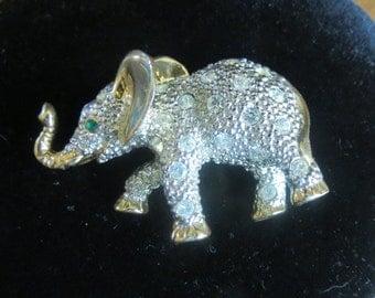 Goldtone Rhinestone Elephant Brooch