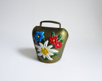 Vintage brass bell, Oktoberfest accessory, Alpine decoration, cow bell with Edelweiss, Gentian flower pattern