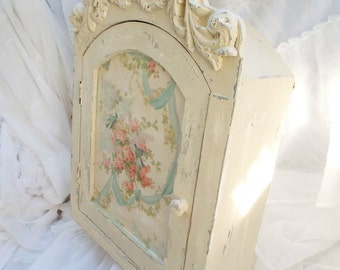 Shelf Romantic Shabby Ornate Chic French frame wall Cupboard Rose Cottage Vintage Style