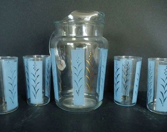 Vintage Beverage Pitcher Glass Set