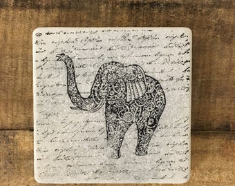 Steampunk Elephant Stone Coasters, Tumbled Marble, Home Decor, Set of Coasters